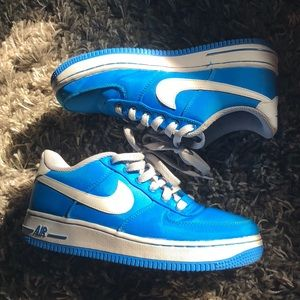 Neon Blue And White Nike Sneakers